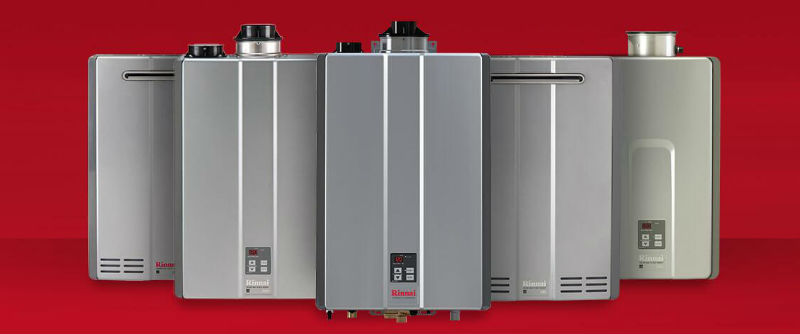 Rinnai-tankless-water-heater-red-background