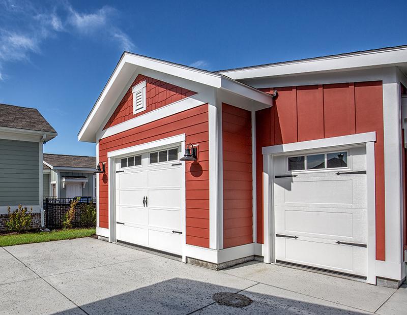 1.5 car garage with golf car shed door
