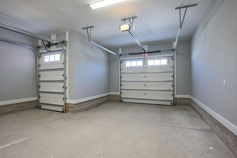 Inside garage with golf cart door