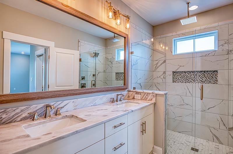 Master bath room tiled shower